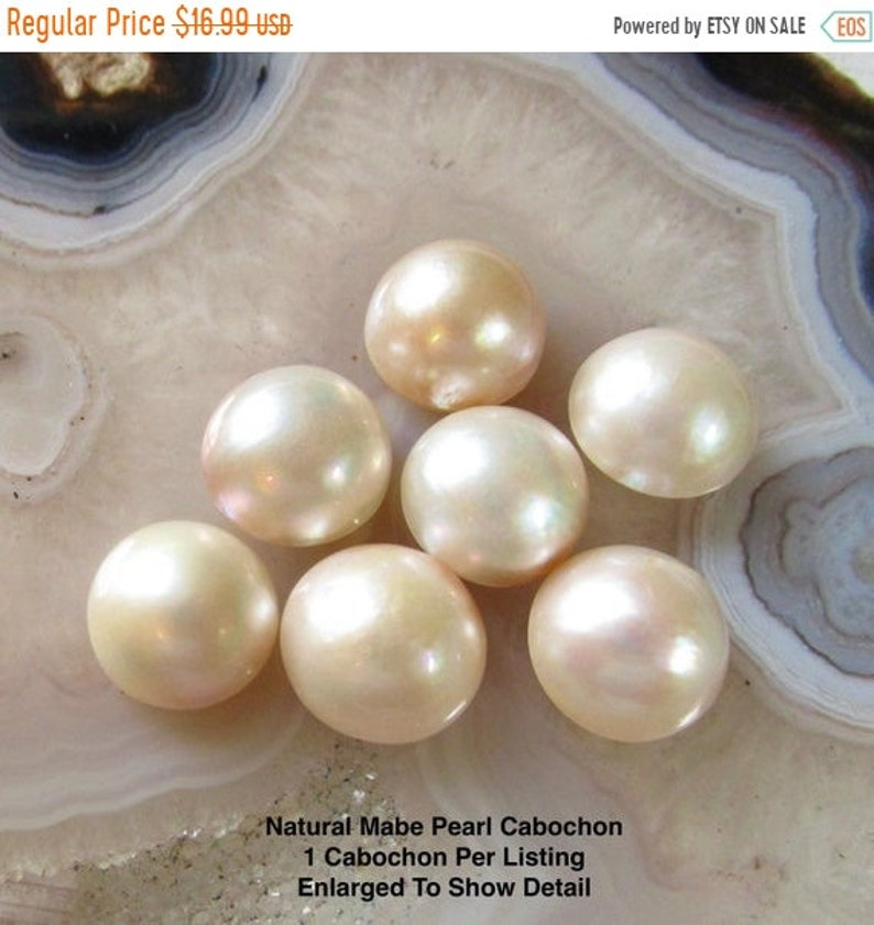 SALE Natural Mabe Pearl cabochon 14mm 15mm Round Lustrous image 0