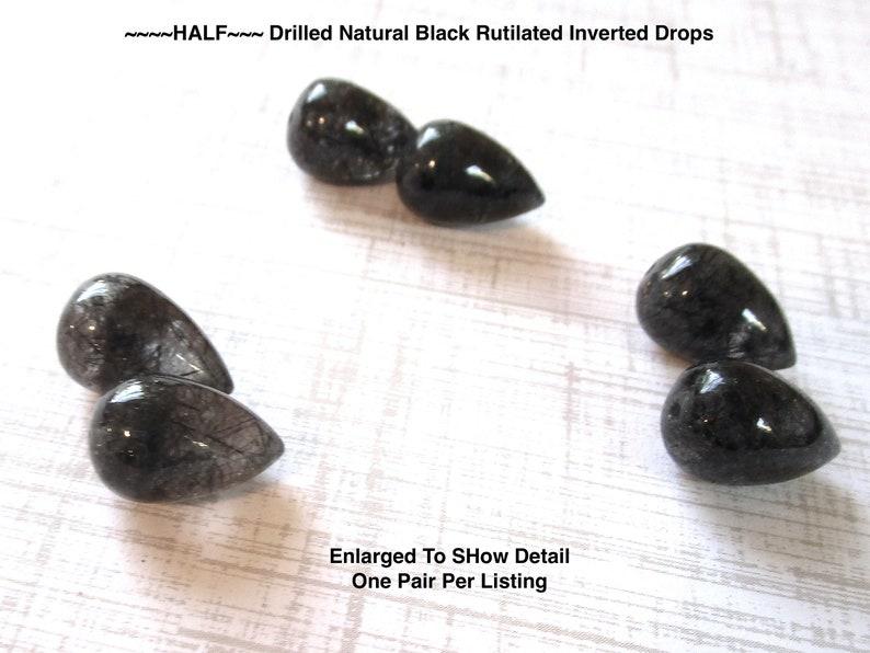 SALE Half Drilled Black Tourmalated Rutilated Quartz Beads Matched Pair Inverted Teardrop Acorn Beads 10mm x 16mm Quartz Pair