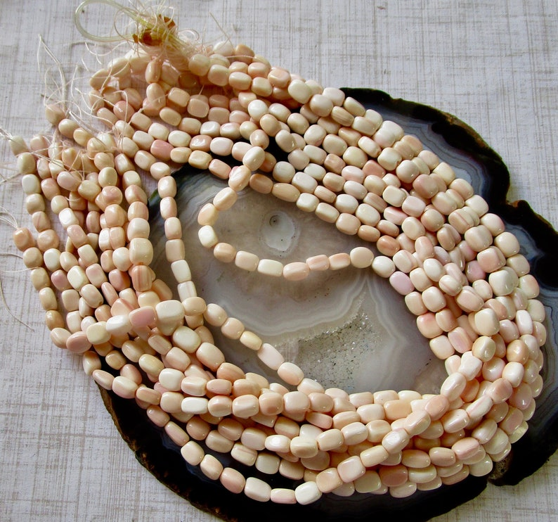 Natural Pink Queen Conch Shell Gemstone Barrel Beads 1 Strand SALE Natural Pink Conch Shell Nugget Beads 8mm