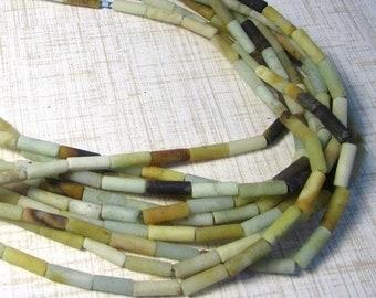 SALE Matte Natural Amazonite Beads Barrel Tube 4mm 13mm , Raw Amazonite Gemstone