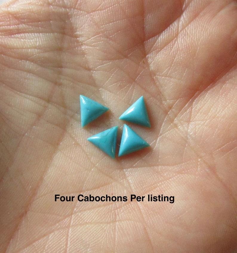 SALE AAA Natural 6mm Kingman Turquoise Triangle Cabochon Genuine Blue Arizona Gemstone  Chevron Trillion QTY4 #Da14