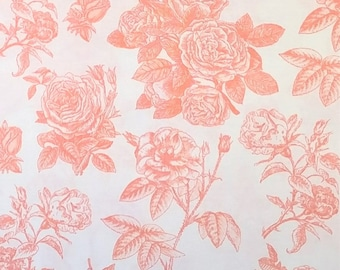 Rose Cotton Fabric RB4540 Coral Orange - Sew Charming by Bo  Bunny for Riley Blake