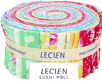 """Flower Sugar Sweet Carnival -  jelly roll quilt cotton fabric strips bundle - 2.5"""" x 43"""" Sushi Pack Lecien Japan - 42 pieces"""