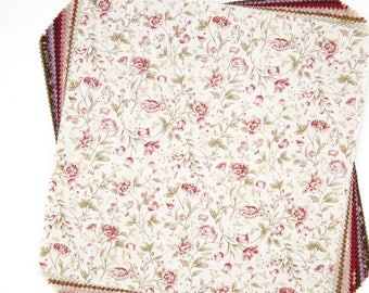 "10x10 "" Antique Floral Origami layer cake squares - Lecien Mrs March - Japanese cotton set, 42 pieces"