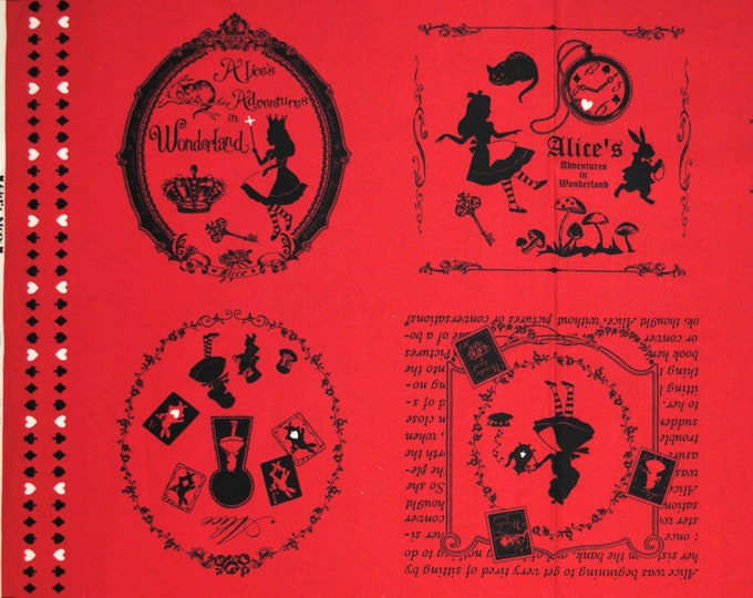 Alice in Wonderland panel- Alice 40574-30 Red, Japanese Cotton Linen Girl's Story by Lecien of Japan