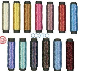 Metallic COSMO thread Hand Embroidery, Shabon - Dama Iridescent polyester floss, LEN78