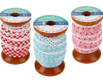 "Lori Holt Crochet Edge Bias Tape trim - 1/4"" trim double-fold, 6-yard spool"