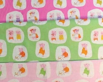 Heather Ross - Nursery Versery Cotton Linen - Piggies HR303,  3 fat quarters