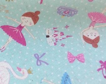 Cotton Linen - Ballet fabric Kokka Japan - Ballerina Dots K401-C blue, half yard - swan lake castle tiara crown slippers bows hearts