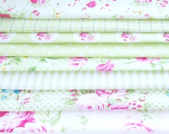 Tanya Whelan fabric Sunshine quilting cotton bundle, country cottage french chic - half yard cuts, 8 pieces GREEN