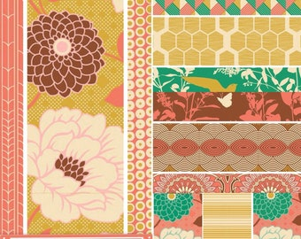 Joel Dewberry Bungalow cotton quilting fabric: fat quarter set of 11, Honey suckle palette