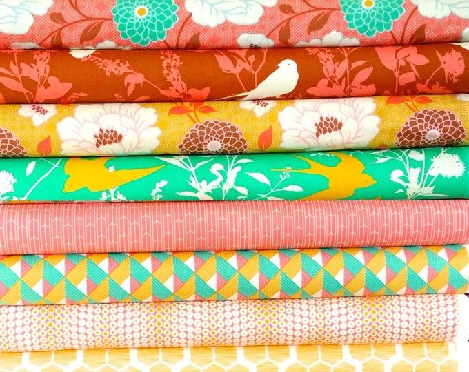 Joel Dewberry Bungalow cotton quilting fabric: fat quarter set of 11, Honey suckle palette
