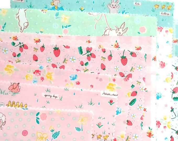 SALE Bunnies & Blossoms by Lauren Nash for Riley Blake - 11 Fat Quarters, cotton fabric bundle