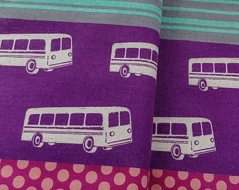 Dots Stripes Retro Bus EF300A Purple - ECHINO Nico by Etsuko Furuya, half yard cotton linen fabric