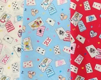 Cotton fabric Lolita Alice Wonderland - Alice Cards L1920 , Lecien of Japan, 4 fat quarters or a half yard