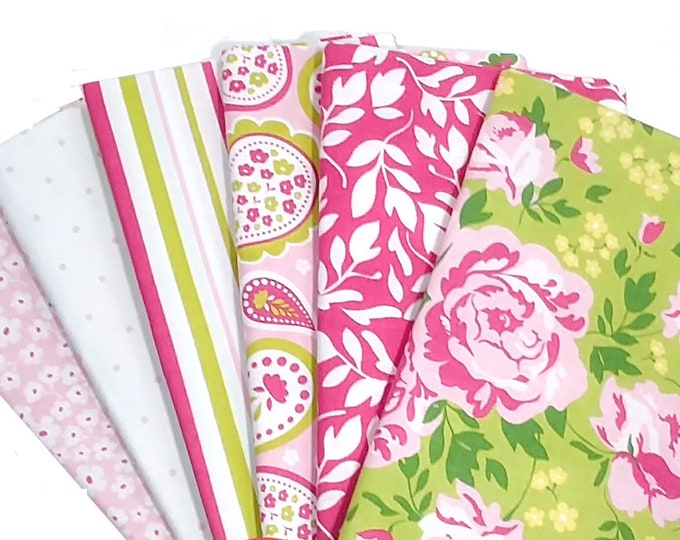 Primrose Garden by Carina Gardner - pink green, 6 fat quarters