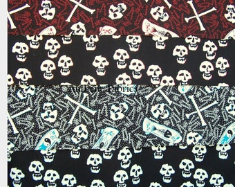 Skate & Skull by Alexander Henry Fabrics - cotton fabric bundle, half-yard cuts 4 pieces