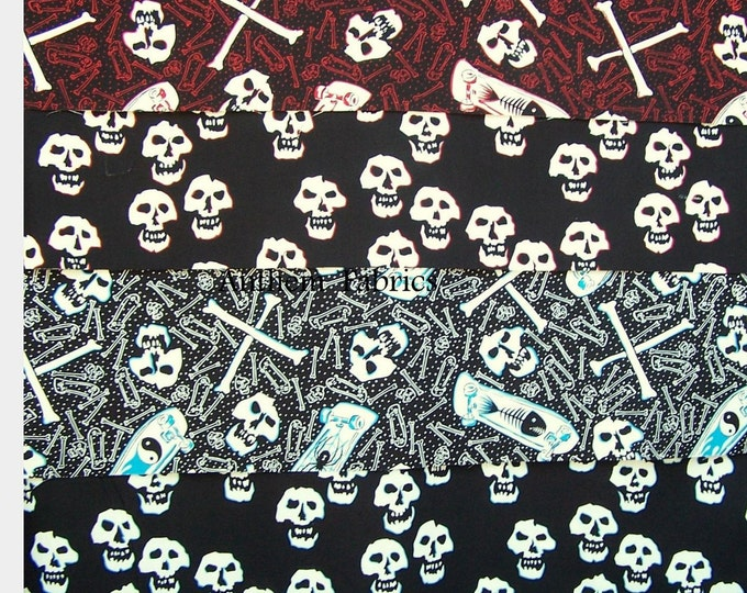 Skate & Skull by Alexander Henry Fabrics - bundle of 4 Fat Quarters OR select a fabric by the yard
