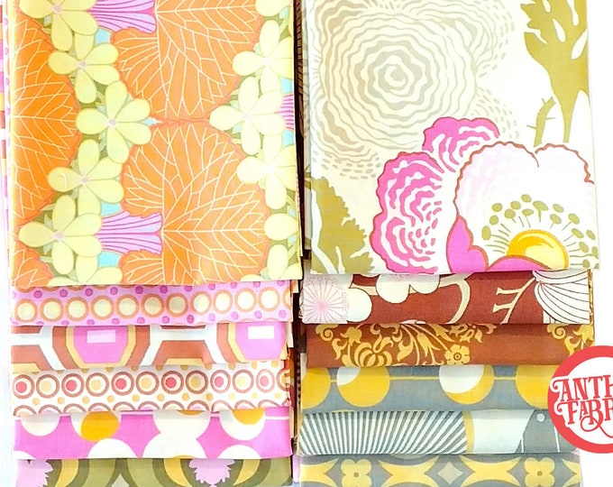 Amy Butler, Midwest Modern and Midwest Modern2 cotton fabric bundle, 12 fat quarters