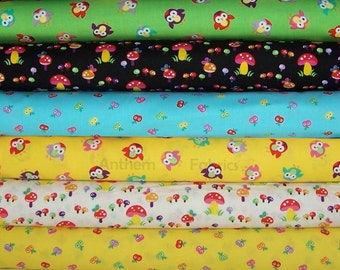 Mushrooms, Owls or Apples - Momo by Alice Kennedy for Timeless Treasures - 1/2 yard of your choice