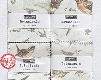 Botanical Birds Cotton 2 1/2 x 2 1/2 inch mini charm fabric squares - MODA 16910MC - 4 Packs, 42 pieces per pack
