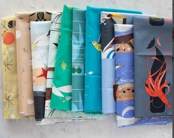 Charley Harper COASTAL  - GOTS certified organic cotton fabric bundle, 10 fat quarters