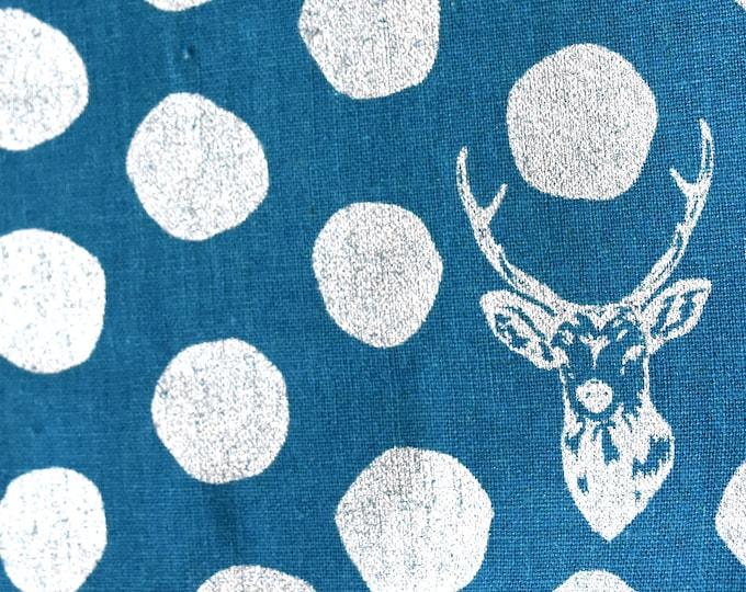 Silver Metallic Echino Buck and Dots Sambar EF501 Blue, 1/2 yard - cotton linen fabric by Etsuko Furuya