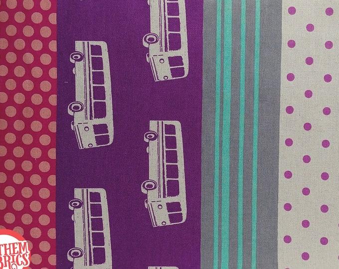 Dots Stripes Retro Bus EF300A Purple - ECHINO Nico by Etsuko Furuya, half yard cotton linen fabric