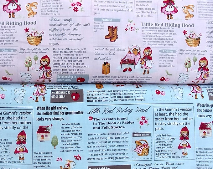 Red Riding Hood -Little Heroines Story Text Lecien Japan L40538, 2 fat quarters