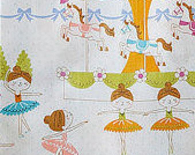 Ballerina Border Fabric K5005 Kokka Japan Cotton, 1 yard