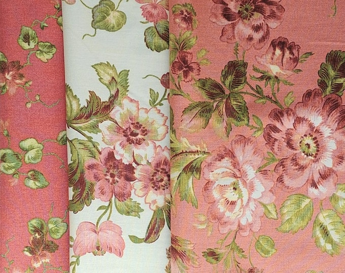 Penny Rose Riley Blake cotton fabric - Isabella - cream and coral, 1/2-yard bundle, 3 pieces