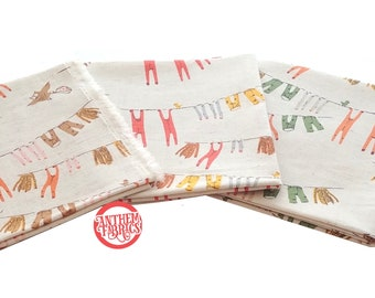 Heather Ross Far Far Away #3 COTTON LINEN for Kokka Japan, HR200-201 Laundry Fat Quarter fabric bundle, 3-pc FQ set
