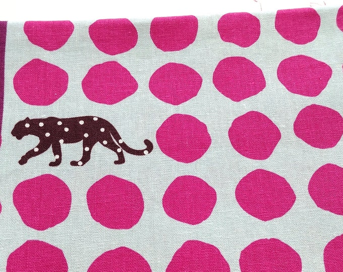 ECHINO Panther EF506A Light Blue Pink Dots - Canvas Cotton Linen Fabric, half yard