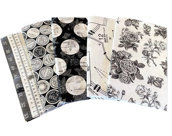 Sew Charming Black and White  quilting cotton fabric bundle, 5 fat quarters cotton - by Bo Bunny for Riley Blake