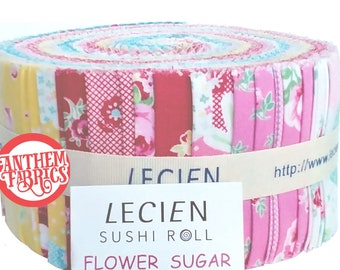 "Flower Sugar Jelly Roll 2 1/2"" fabric strips - Spring roses, hexagon floral quilt fabric pack - Lecien SP15 cotton Sushi Roll set, 42 pieces"