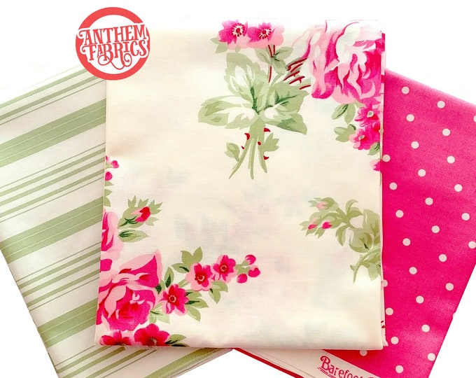Barefoot Roses Legacy Tanya Whelan - fat quarter bundle, 3 pieces - shabby cottage country chic