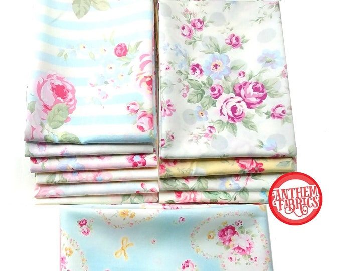 Princess Rose Fabric by Lecien - quilting cotton fabric - 11 fat quarters