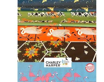 Charley Harper Summer organic cotton fabric 5 fat quarter cuts, Moth-Birds-Cow-Bear-Bee