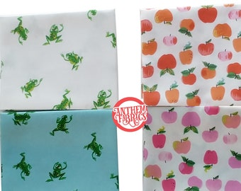 Kinder Heather Ross - quilting apparel cotton fabric - choose Apples or Frogs, 2-piece bundle OR a half yard cut