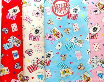 Cotton fabric Lolita Alice Wonderland - Alice Cards L1920 , Lecien of Japan, 4 fat quarters or a half yard