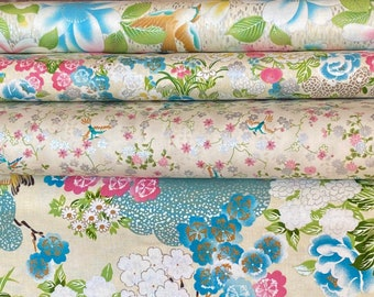 Quilt Gate Floral and Bird quilting kimono cotton - Hyakka Ryoran Tori silver metallic fabric bundle, 1/2 yard cuts - set of 4 in cream