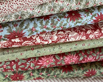 MARCHES DE NOEL Christmas fabric by 3 Sisters for Moda,  Quilting Cotton  ~ 8 fat quarters