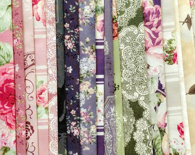Quilt Gate Rose Prima ballet cotton fabric - floral RURU Rose - QG2260, 19 fat quarters