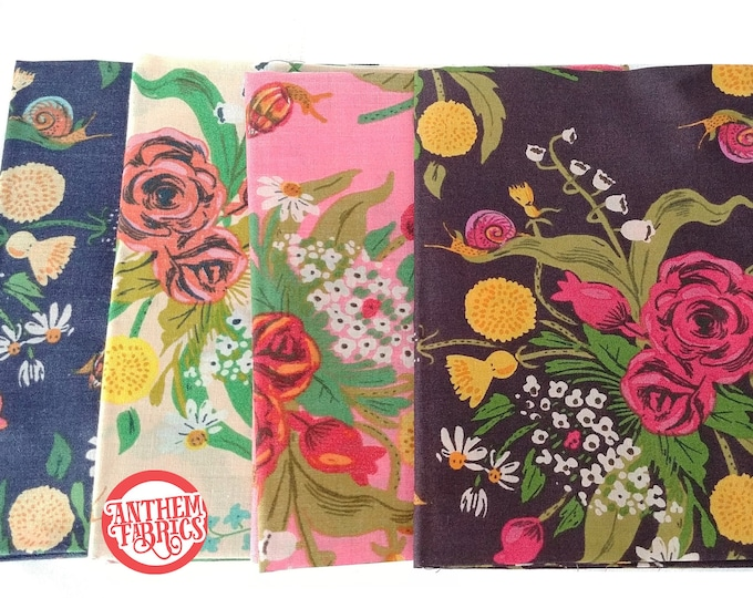 Sleeping Porch by Heather Ross, COTTON LAWN fabric - Wild Flowers HR42205 bundle - 4 fat quarters