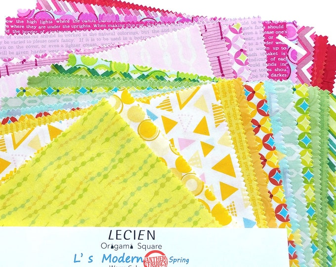 "50's Retro Geometric Warm Color layer cake fabric Pack - Lecien Modern 10"" x 10"" Origami Squares SP15  set - 42 pieces"