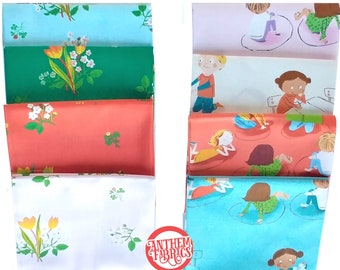 Kinder Heather Ross, fat quarters quilting cotton fabric bundle - choose Kindergarten class or floral Spring Blooms