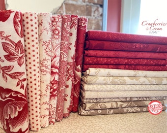 Cranberries Cream MODA Christmas fabric bundle, 20 pieces
