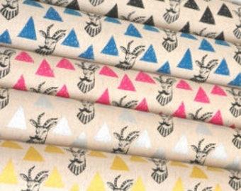 Echino Impala EF402 , Cotton Linen Fabric set - 5 fat quarters - designer Etsuko Furuya