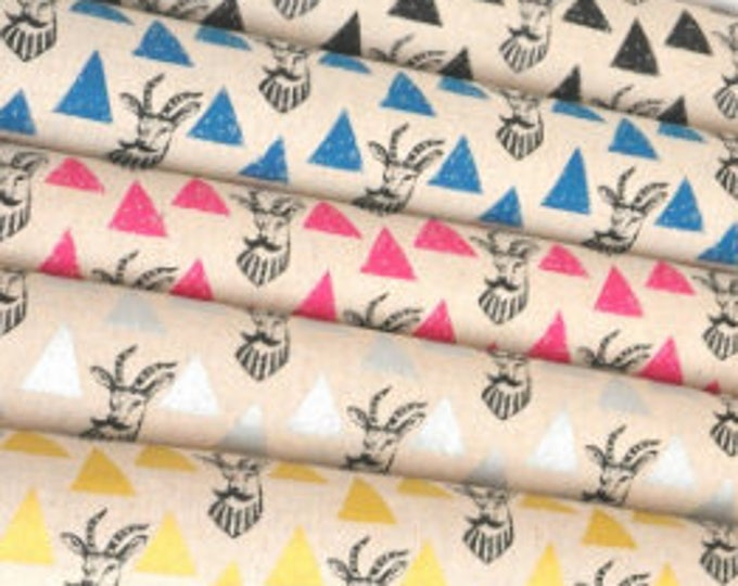 Echino Impala EF402 , Cotton Linen Fabric set - 5 fat quarters - designer Etsuko Furuya