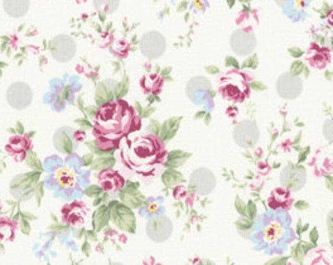Princess Rose Fabric by Lecien - Roses & Polka Dots L31265-90 Gray